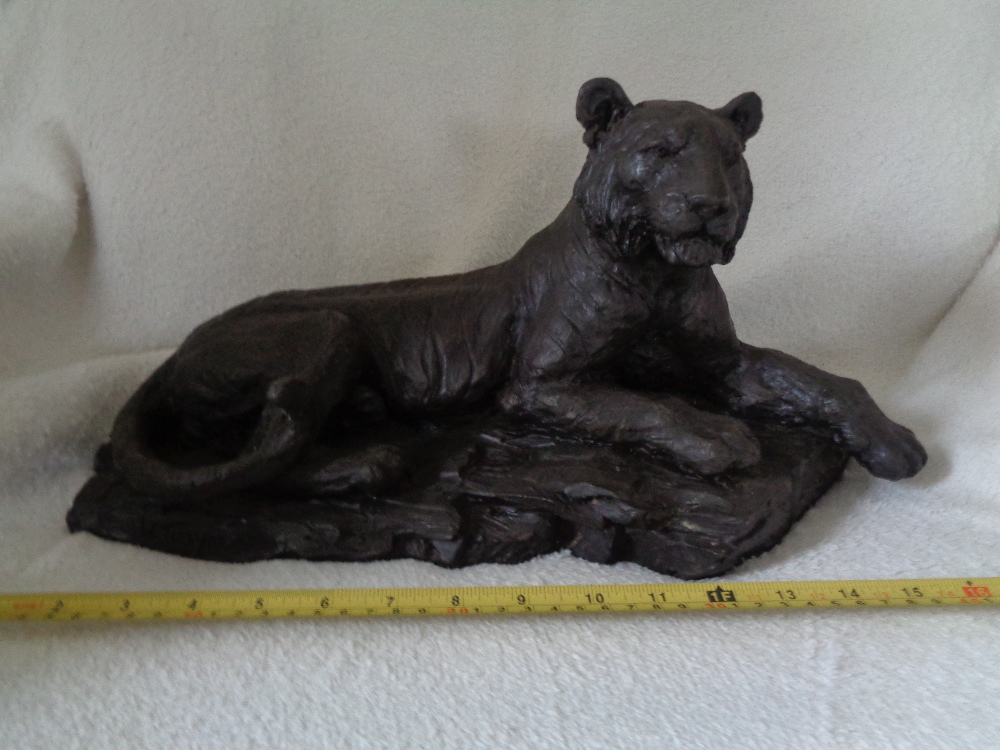 "Lot 4 - BRONZE EFFECT TIGER 17"""" L x 4"""" H - AMAZING DETAIL"