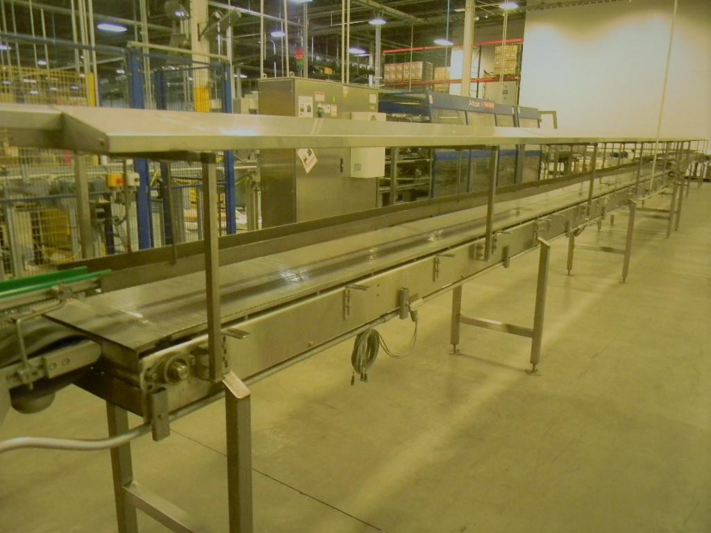 "Lot 18 - Accumulation Conveyor, All S/S, 18"" Intralox Chain, 35' L, 6""W X 48""L Dynamic Transfer"