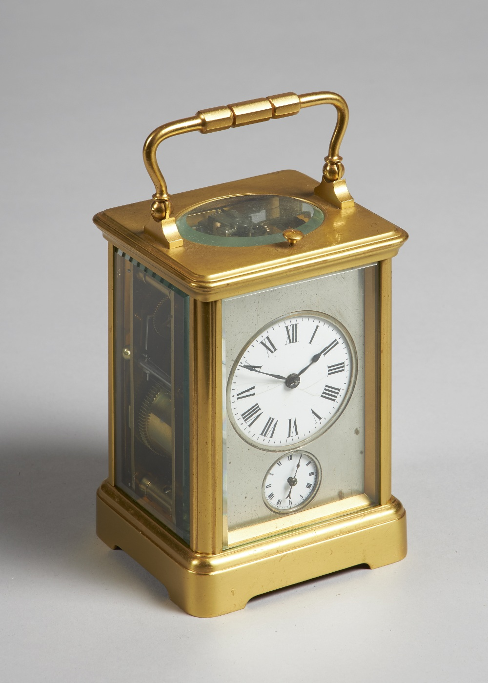 Lot 688 - A French gilt brass cased carriage clock Late 19th century In a Corniche case,