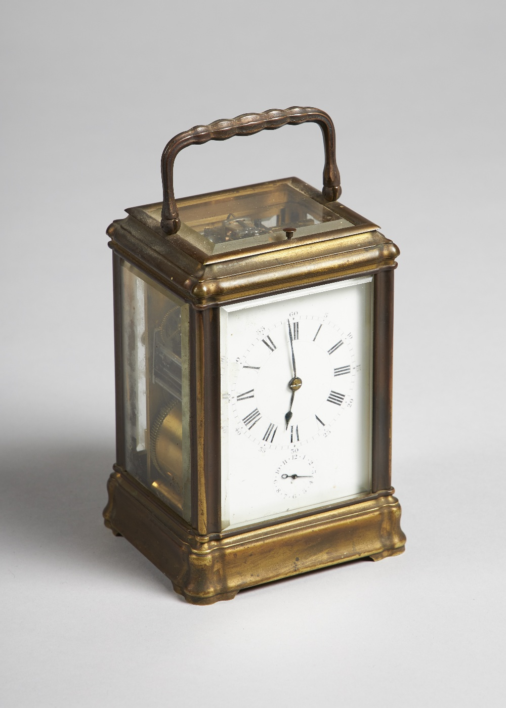 Lot 690 - A French brass Gorge cased Grande Sonnerie carriage clock with alarm By Henri Jacot, Paris, No.