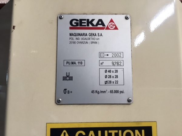 """110 TON GEKA CNC PUNCH; S/N 9702, PUNCHING CAPACITY 110 TONS, CAPACITY IN _"""" MATERIAL 1-1/2"""", - Image 9 of 10"""