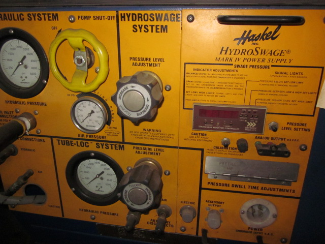HASKEL HYDRO SWAGE SYSTEM; S/N 57697, MARK IV POWER SUPPLY 42769, DIGITAL INDICATOR STRAIN GAUGE - Image 3 of 4