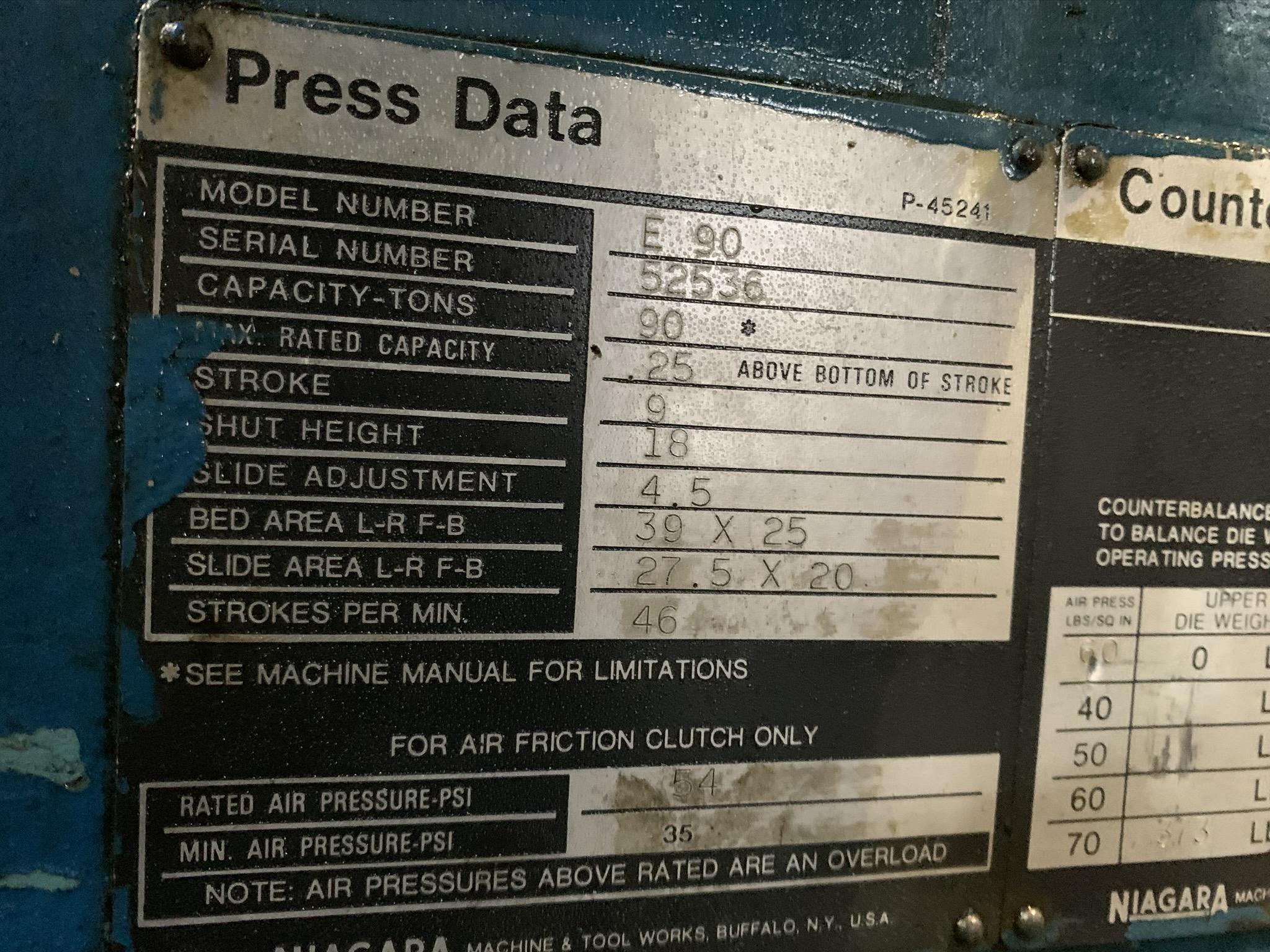 "90 TON NIAGARA MODEL E-90 OBI BACK GEARED PRESS; S/N 52536, STROKE 9"", SHUT HEIGHT 18"" SDAU, - Image 6 of 12"