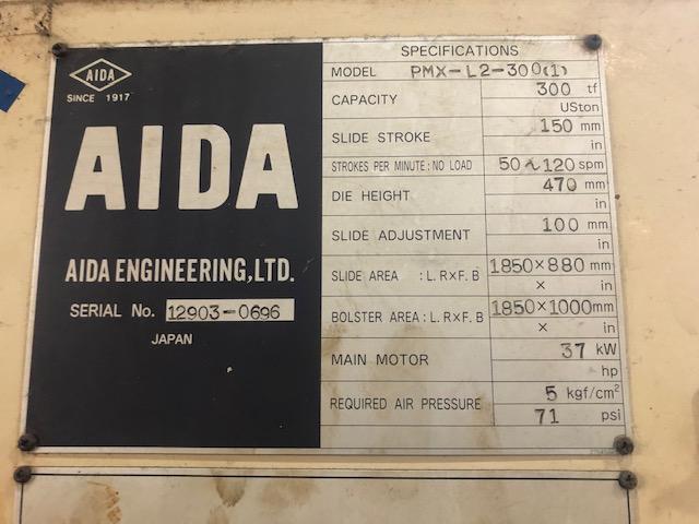"330 TON AIDA MODEL PMX-L2-300(1) STRAIGHT SIDE DOUBLE CRANK PRESS; S/N 12903-0696, 5.90"" STROKE, - Image 5 of 10"