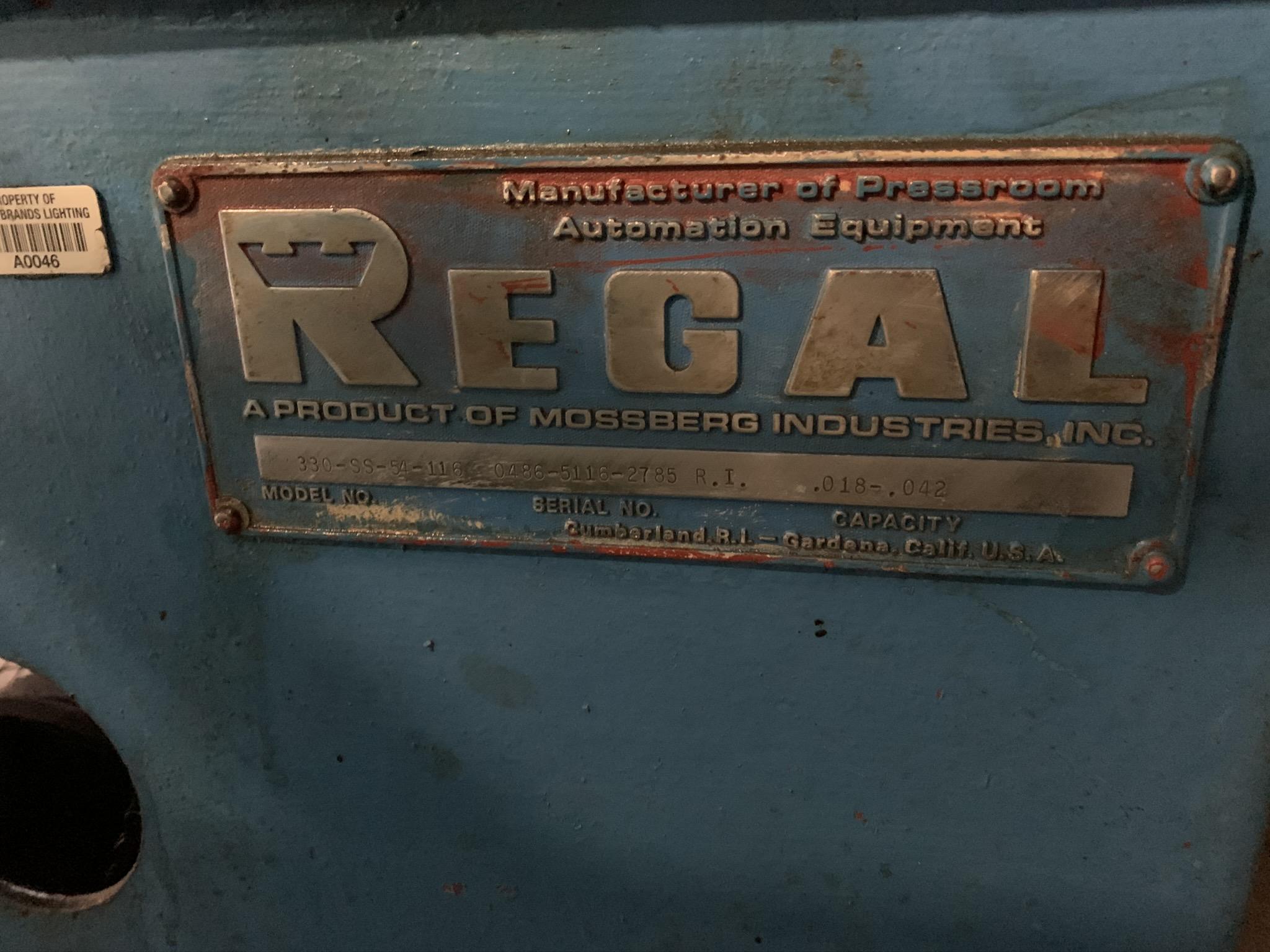 "54"" REGAL MODEL 330-SS-54-116 POWERED STRAIGHTENER; S/N 048651162783RI, 54"" MAX WIDTH, .018 TO . - Image 5 of 5"