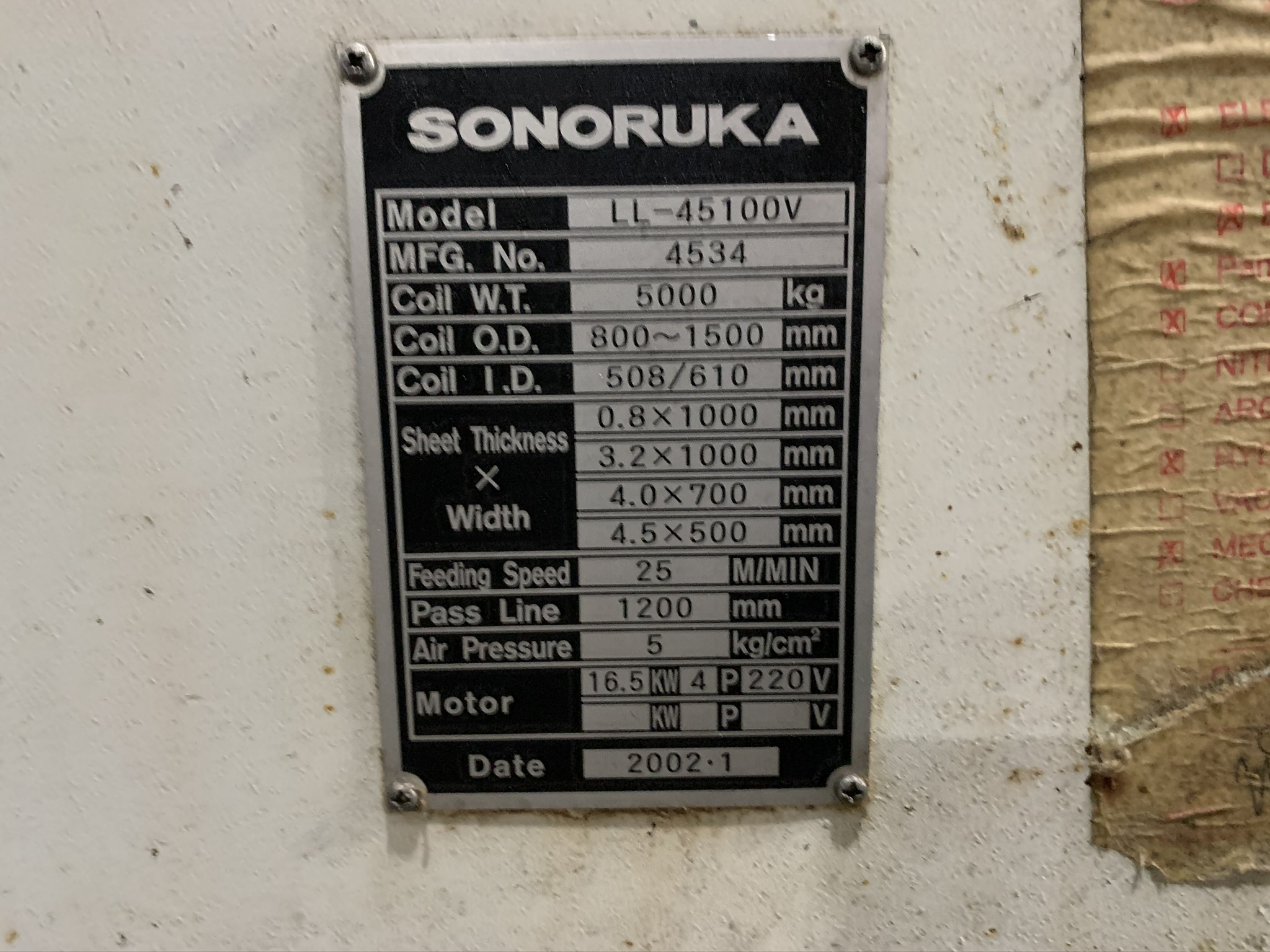 "11,000 LB. X 39"" X .177 SONORUKA SERVO FEED LINE; S/N 4533-4550, COIL WEIGHT 5,000 KG - 11,023 - Image 9 of 17"