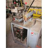 LEE SCHAFFER MODEL 90-1853 COIL END WELDER; S/N 90-1853, MILLER ECONOTWIN HF WELDER, 150 AMP, 8""