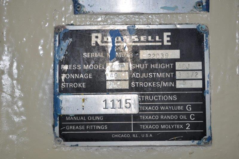 """40 TON ROUSELLE MODEL 40H HORN PRESS; S/N 22039, 6"""" STROKE, 26"""" LRX, 12"""" FRONT TO BACK BEND AREA, 45 - Image 7 of 7"""