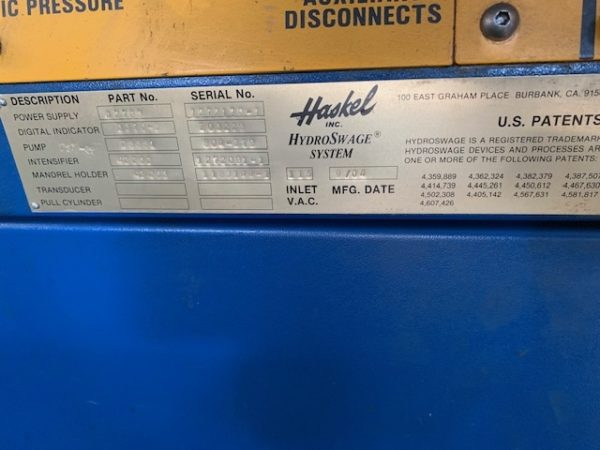 HASKEL HYDRO SWAGER SYSTEM; S/N 1272139-1, MARK IV POWER SUPPLY 42769, DIGITAL INDICATOR STRAIN - Image 4 of 5