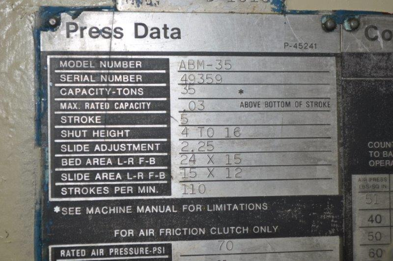 """35 TON NIAGARA MODEL AMB-35 ADJUSTABLE BEND HORN PRESSES; S/N 49359, 24"""" LEFT TO RIGHT X 16"""" FRONT - Image 9 of 9"""