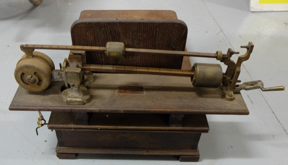Lot 53 - Antique (Jockeys) Weighing Scales, stamped, wooden base