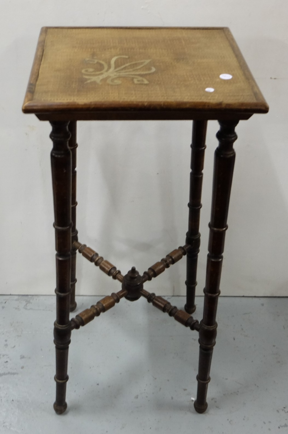 """Lot 28 - Bamboo style lamp table, 14"""" square top, over turned legs"""