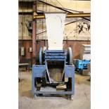Large granulator. Blue/white flywheel driven 50 HP