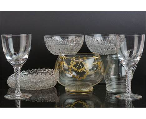 Eight modern spiral air-twist glass goblets, Anda gilt square glass bowl the bowl 15cmdiameter and a modern glass water caraf
