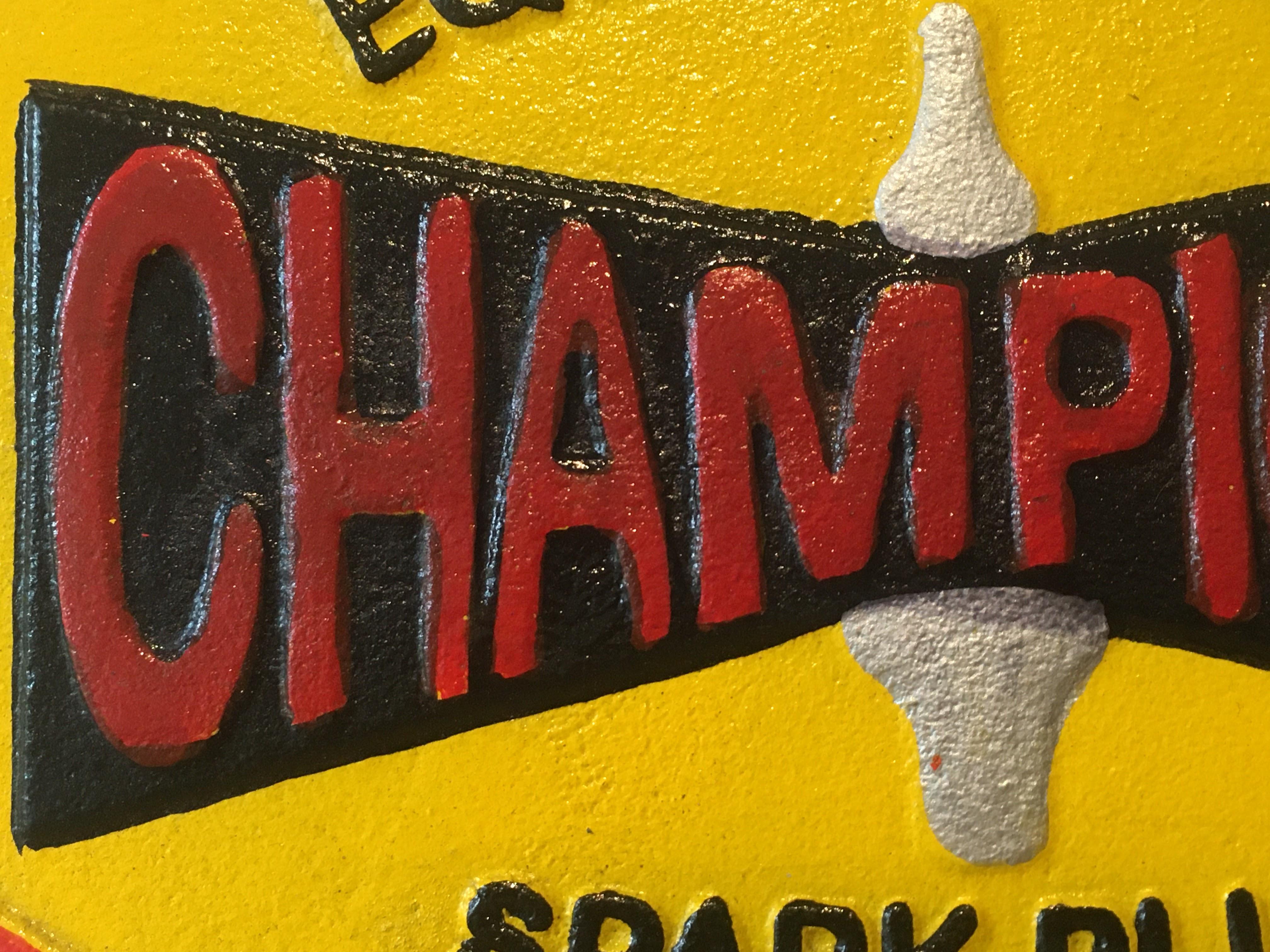 Champion 'Spark Plugs' Cast Iron Sign - Image 4 of 6