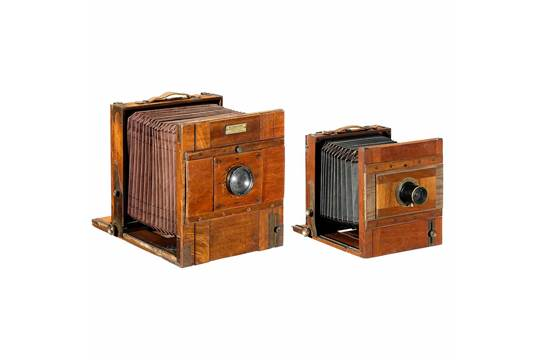 2 field cameras 1 german field camera 13 x 18 cm c. 1900 polished