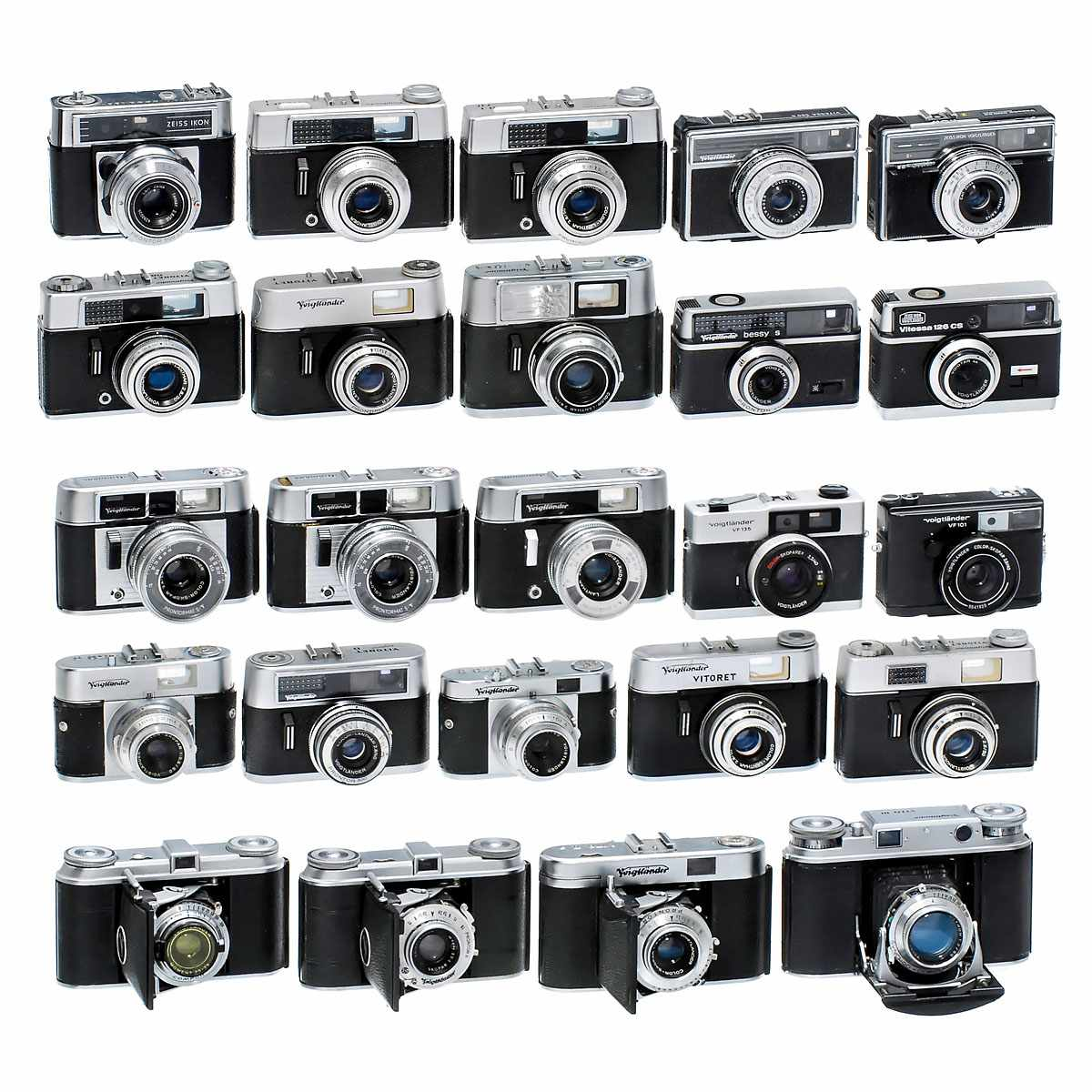 23 Viewfinder Cameras by Voigtländer Voigtländer, Braunschweig. 1-2) 2 x Vito (two different Vito