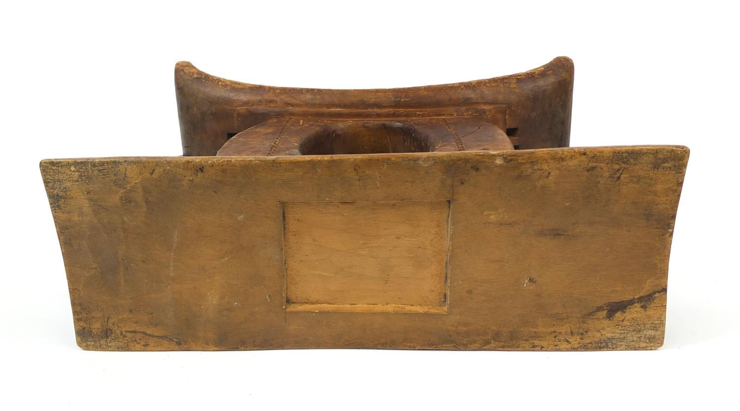 Lot 325 - Tribal interest carved wooden African headrest, 39cm x 26cm x 22cm : For Further Condition Reports