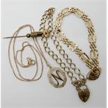 A 9ct gold chain with a 'N' pendant length 46cm, a 9ct gold fancy link gate bracelet with heart