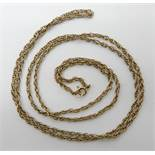 A 9ct gold rope chain, length 78cm, weight 8.6gms Condition Report: Available upon request