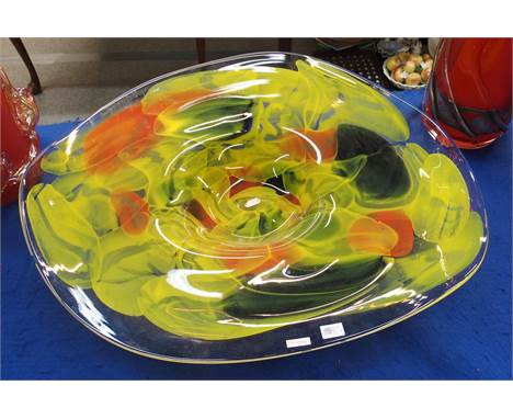 Ion Tamaian - A mottled yellow, read and clear glass 'Lemon euphoria Platter', 62cm diameter, etched signature to side, with