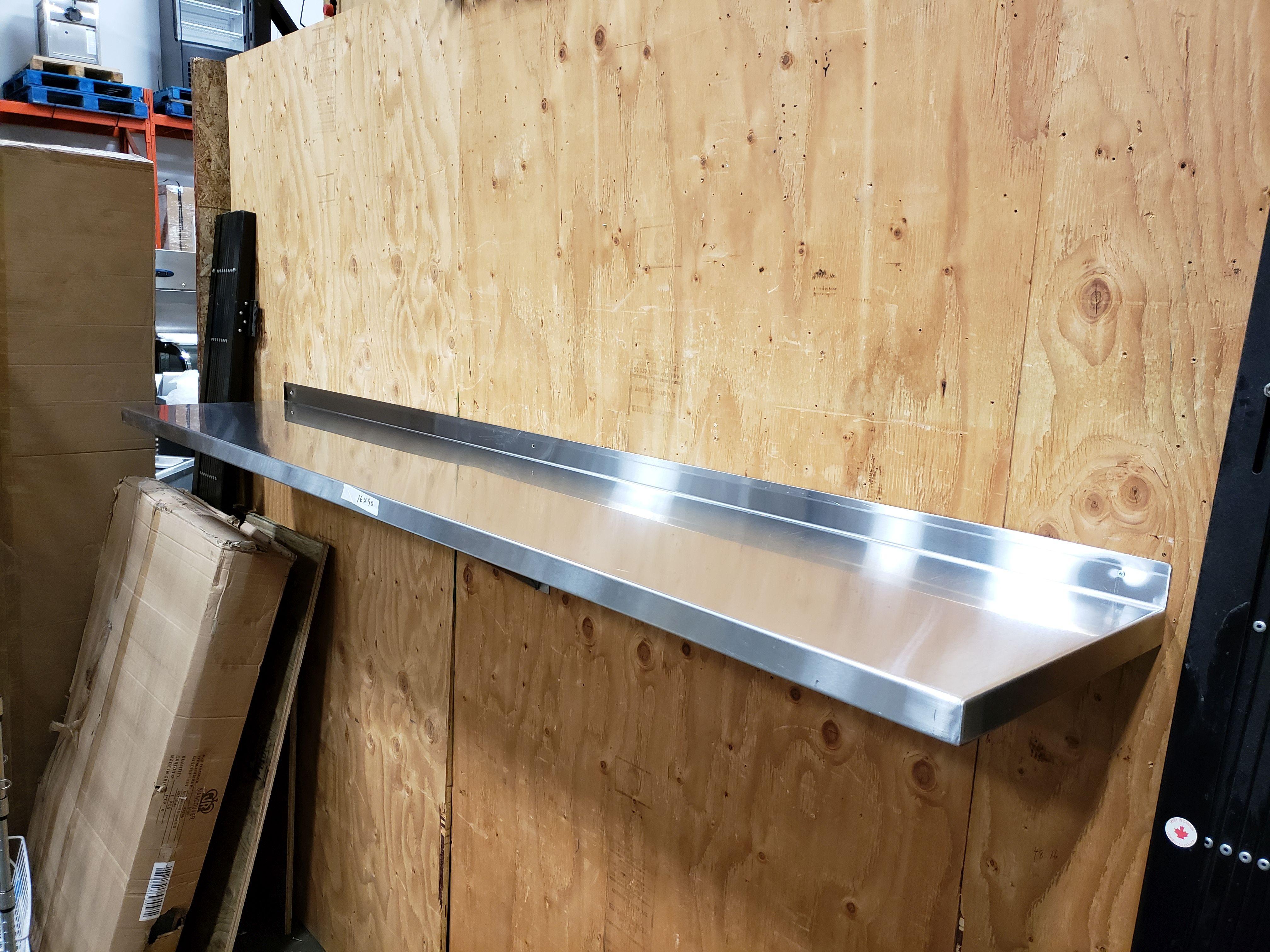 "Lot 29 - 16"" x 90"" Stainless Steel Wall Shelf"