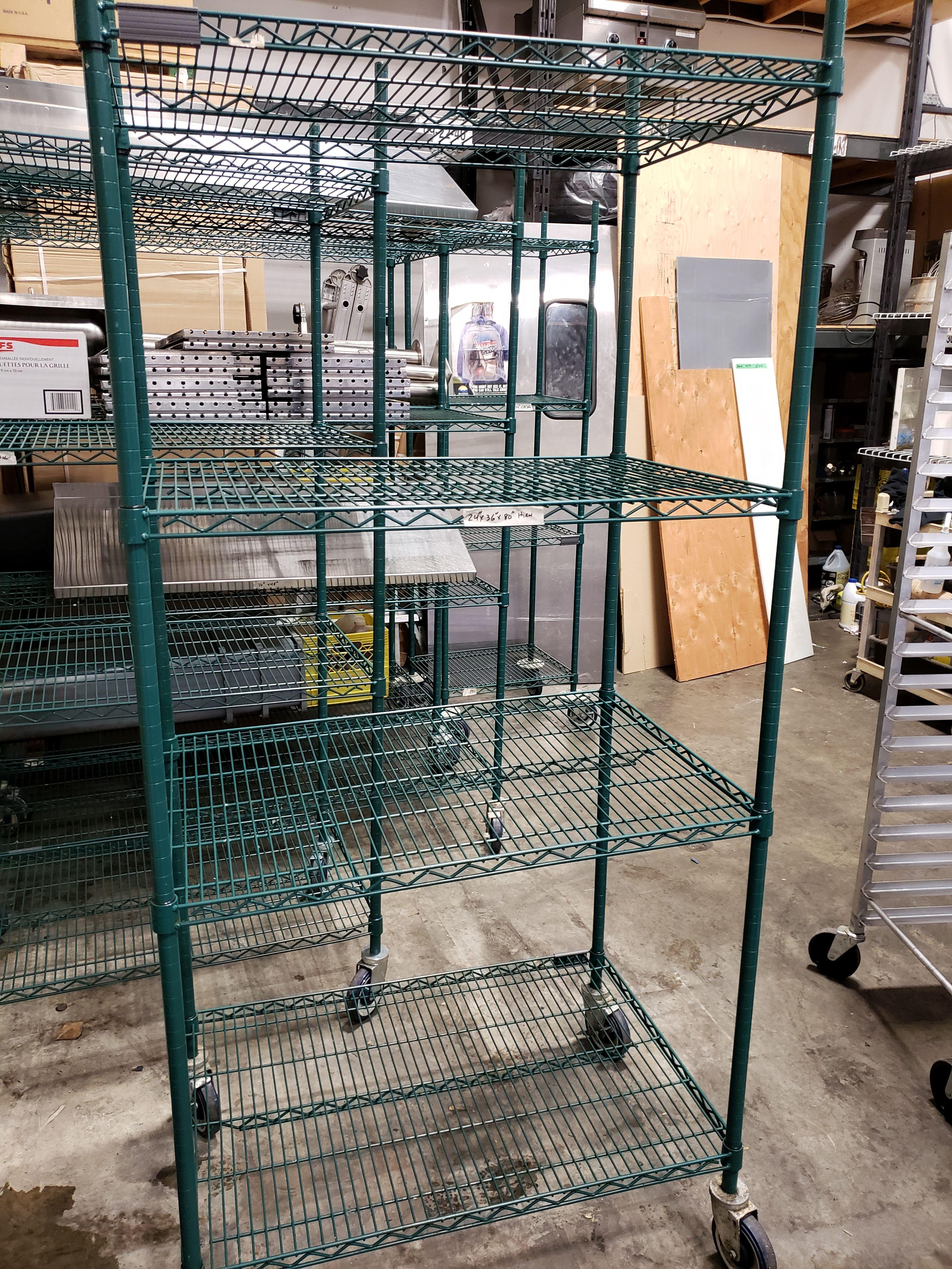 "Lot 11 - 24"" x 36"" x 80"" High Green Epoxy 4 Shelf Rack on Casters"