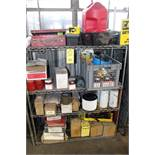 LOT OF SHOP SUPPLIES, w/contents, assorted (on one shelf)