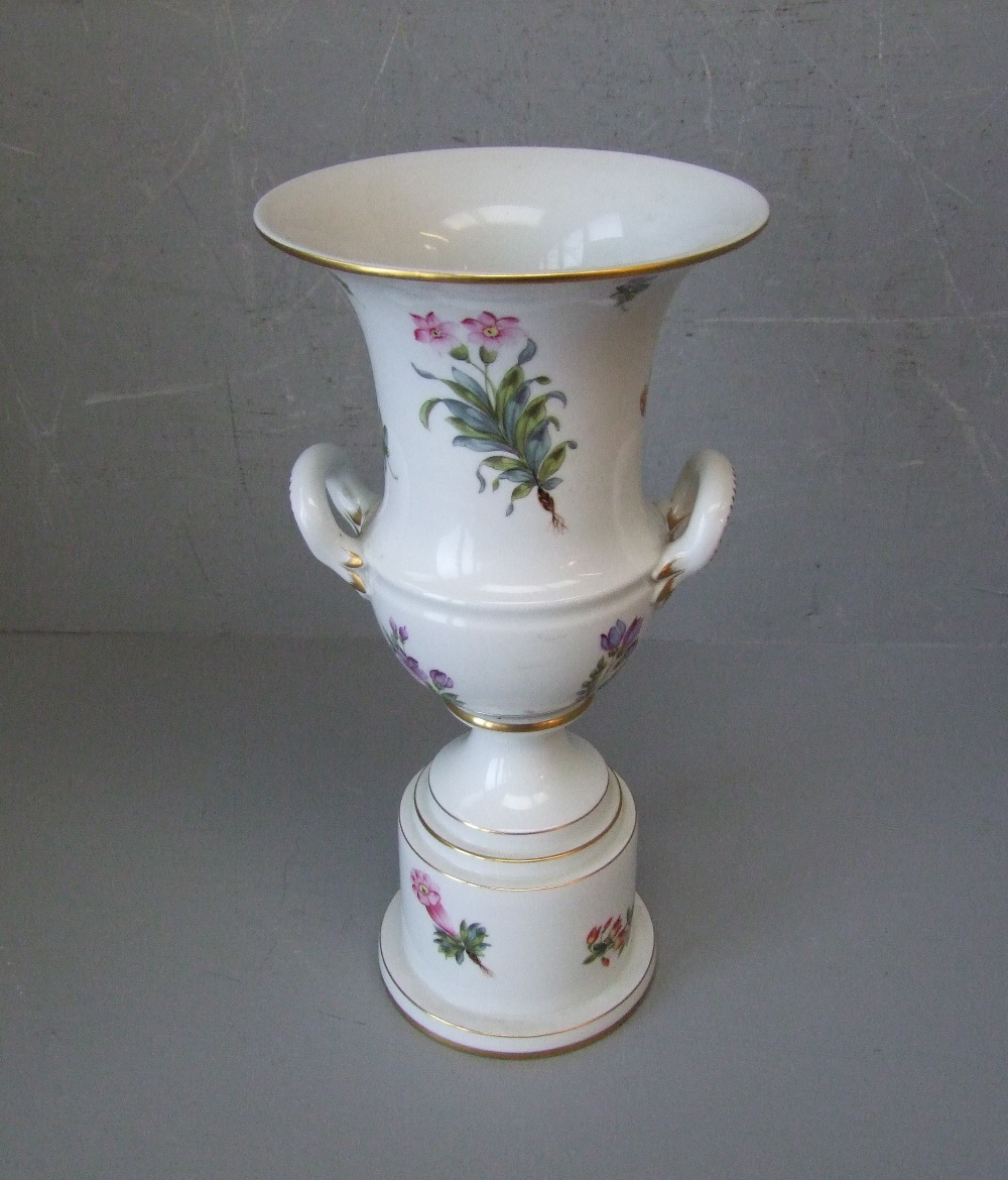 Lot 123 - Herend porcelain 2 handled trumpet shaped vase on stepped base, decorated with flowers 31cm H