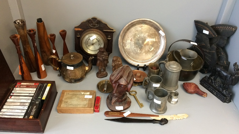 Lot 24 - General household clearance: qty of metal & wooden items to include tankards & candlesticks