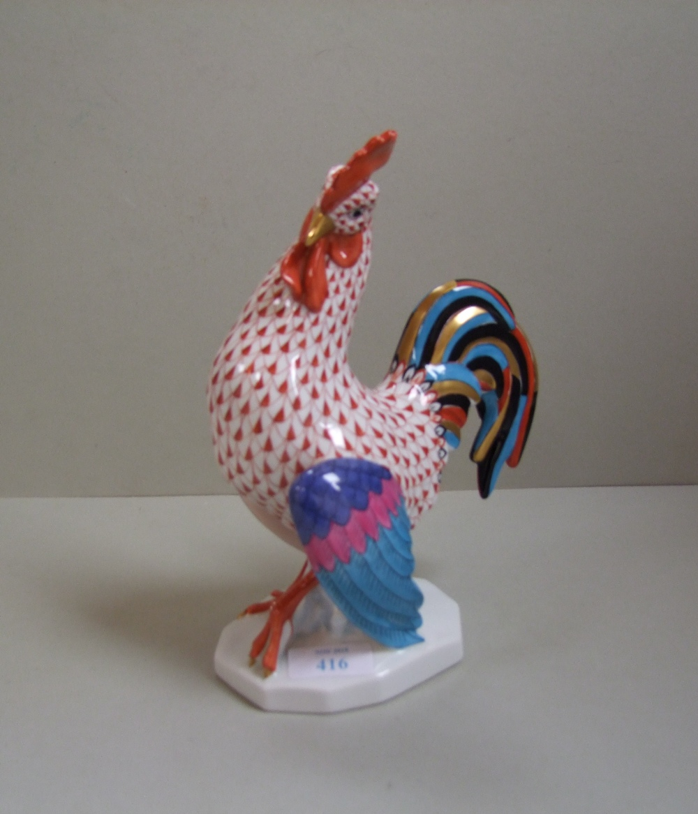 Lot 121 - Herend porcelain figure of a cockerel, incised NO to base 5014/2 23cm H