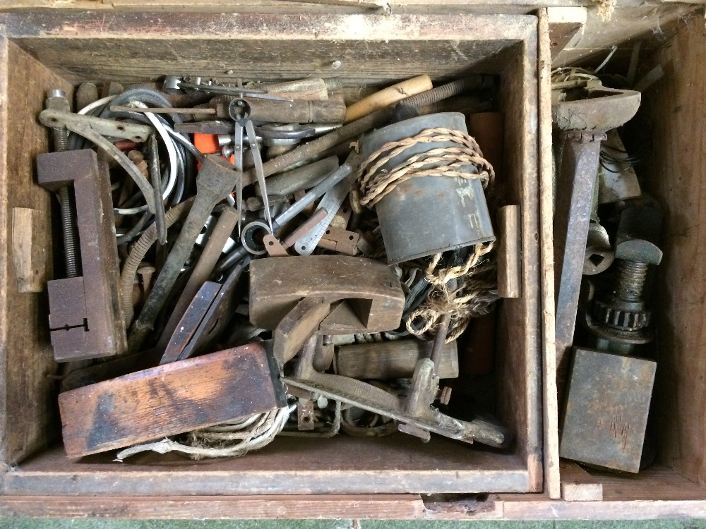 Lot 8 - General Clearance Lots: wooden tool box with tools.