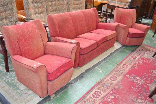 A 1930\'s 3 piece suite comprising a pair of single seat chairs and a ...