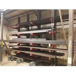 Single Side Cantilever Steel Rack, with Contents, 36 In. Arms, 148 In. Overall Length, (4) Uprights,