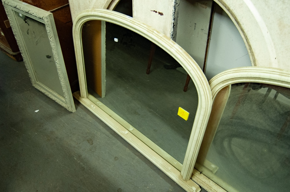 Lot 47 - VICTORIAN STYLE OVER MANTEL MIRROR WITH ARCHED TOP, IN WHITE PAINTED FRAME