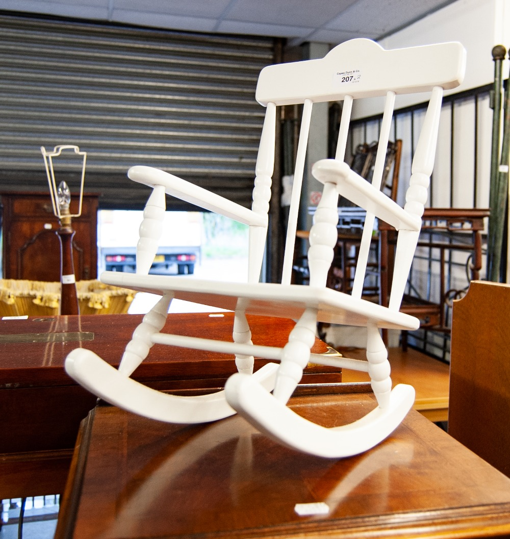 Lot 207 - DOLLS WOODEN ROCKING CHAIR AND A DOLLS WOODEN DECORATIVE CRIB (2)