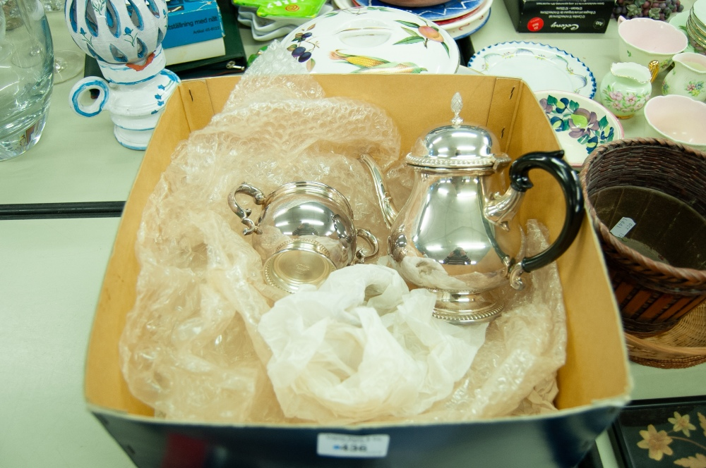 Lot 436 - MAPPIN AND WEBB SILVER ON COPPER TEA SERVICE OF 3 PIECES, PLAIN PEAR SHAPED WITH GADROON BORDER VIZ;