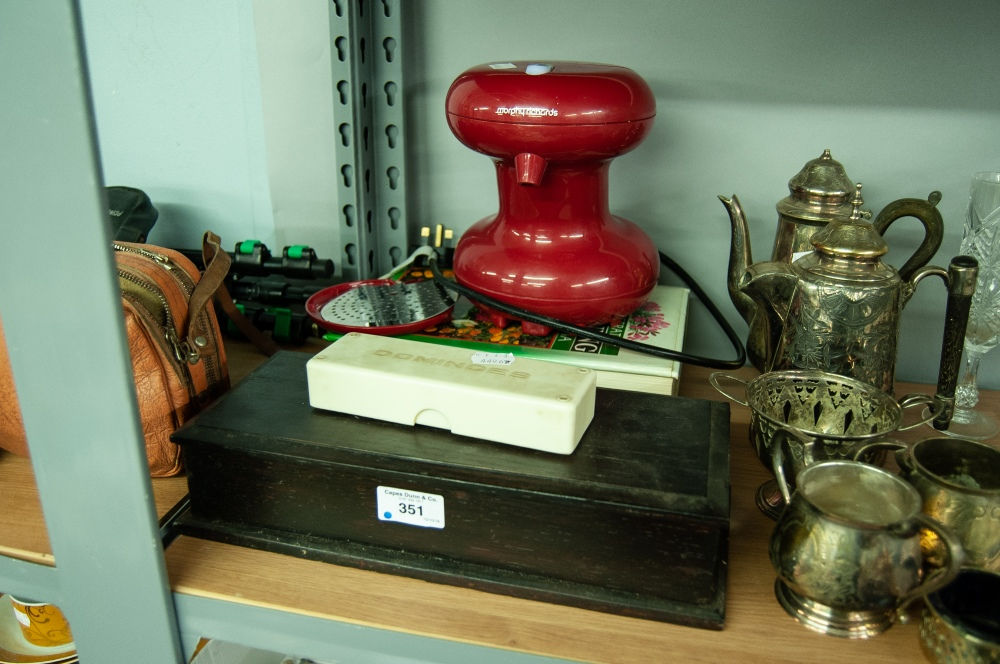 Lot 351 - MORPHY RICHARDS ONE CUP BOILER, BOX OF DOMINOES, EBONISED GLOVE BOX AND A GARDENING ENCYCLOPAEDIA
