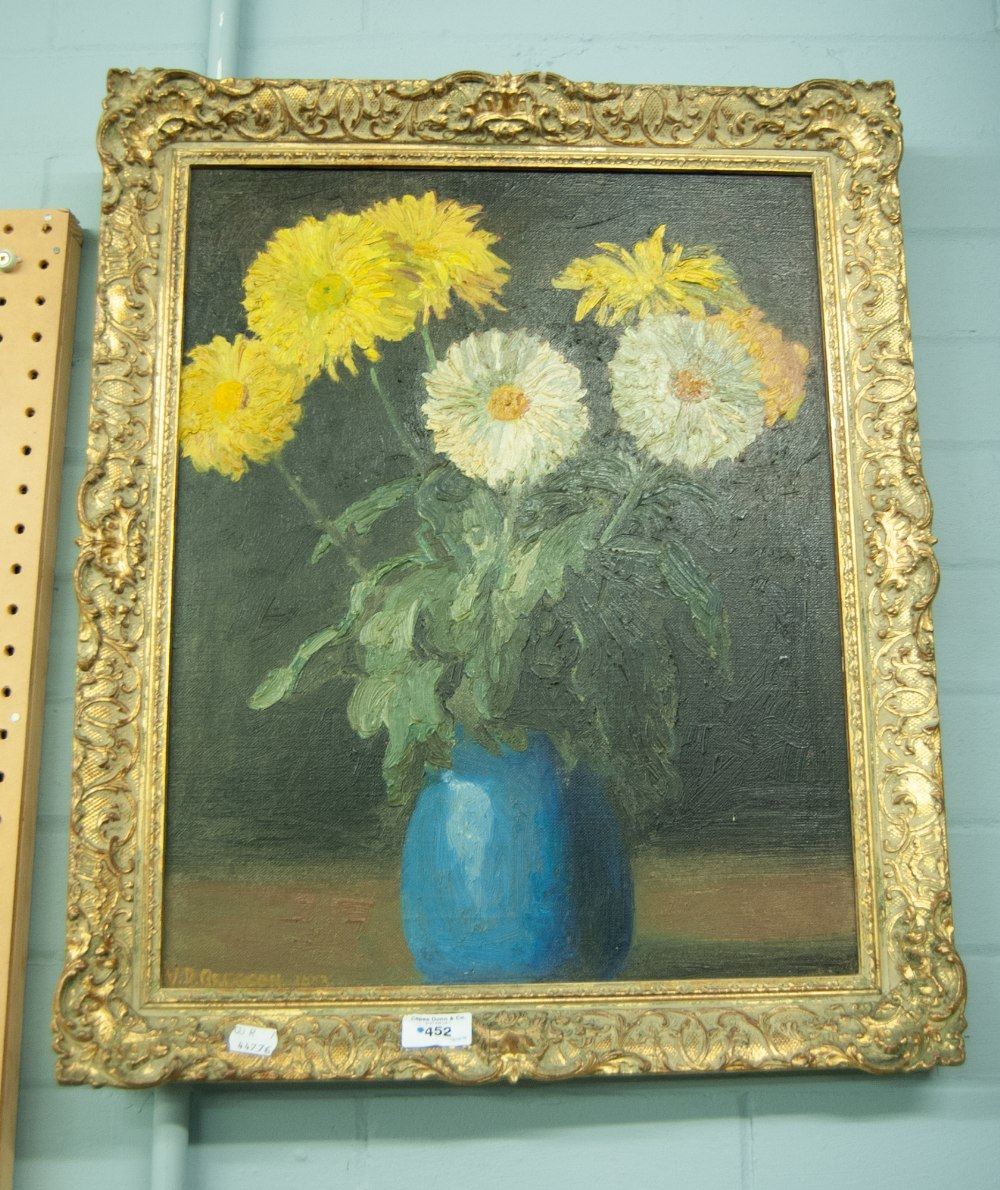 """Lot 452 - V.D. GREGSON OIL PAINTING ON CANVAS VASE OF FLOWERS SIGNED AND DATE 1993 19 1/2"""" X 15 1/2"""""""