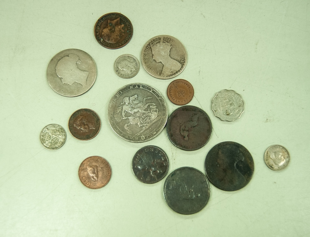 Lot 442 - GEORGE III SILVER CROWN COIN 1820, AND FOURTEEN OTHER GEORGIAN, VICTORIAN AND LATER COINS (15)