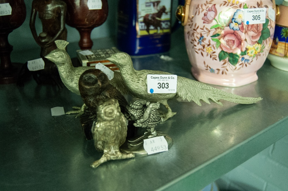 Lot 303 - A PAIR OF MODERN WHITE METAL PHEASANTS, OWL, SKIING HEDGEHOG AND RESIN OWL (5)
