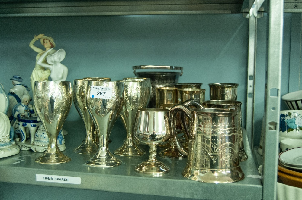 Lot 267 - SET OF ENGRAVED EP WINE GOBLETS with waisted stems, TWO PINT TANKARDS, TWO PAIRS OF STEM WINE