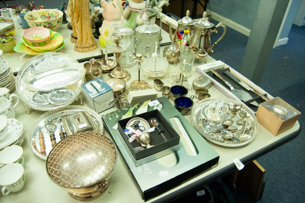 Lot 398 - COLLECTION OF SILVER PLATED WARE TO INCLUDE, COFFEE AND TEAPOT, CANDLE STANDS, DRESSING TABLE SET,
