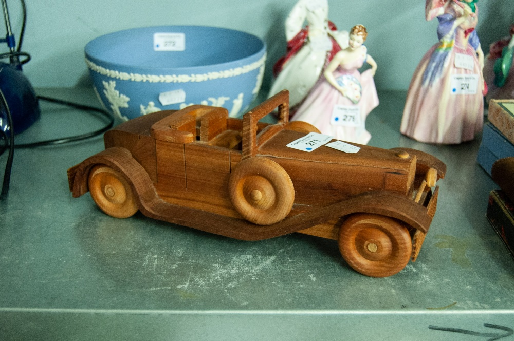 Lot 271 - A FRENCH WOODEN MODEL OF A TWO SEATER OPEN CAR