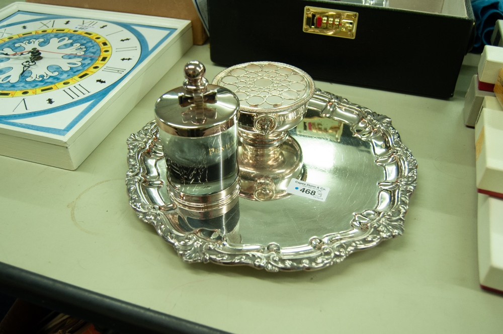 """Lot 468 - OLD SHEFFIELD PLATE CIRCULAR SALVER WITH SHAPED AND MOULDED ROCOCO BORDER, ON THREE STUD FEET, 12"""""""