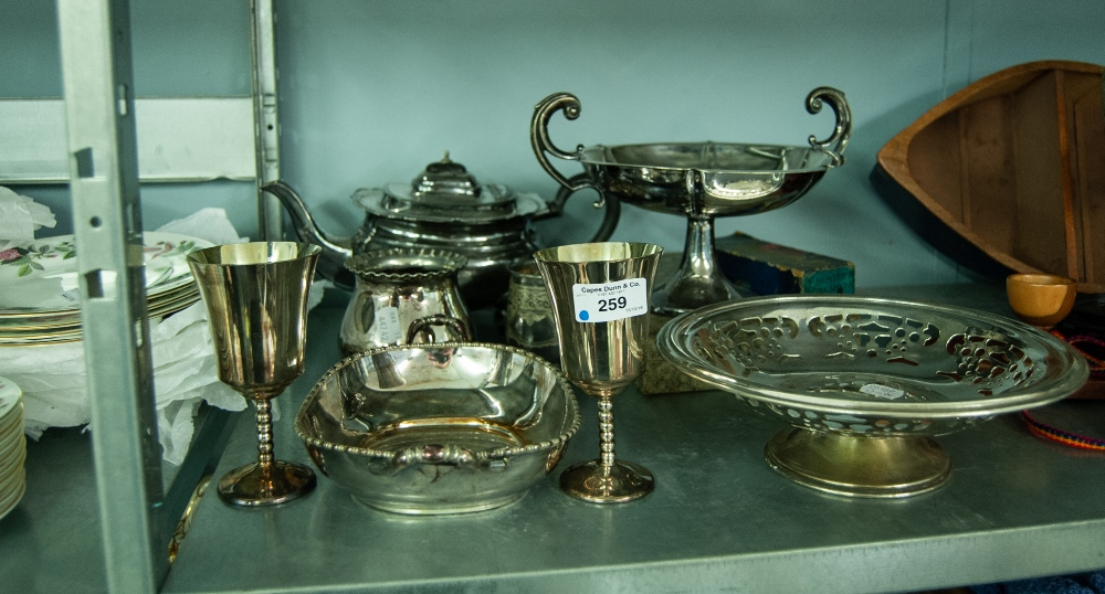 Lot 259 - A SMALL SELECTION OF PLATED ITEMS INCLUDING; A TEAPOT, PEDESTAL BOWL, BOWL, A PAIR OF STEM