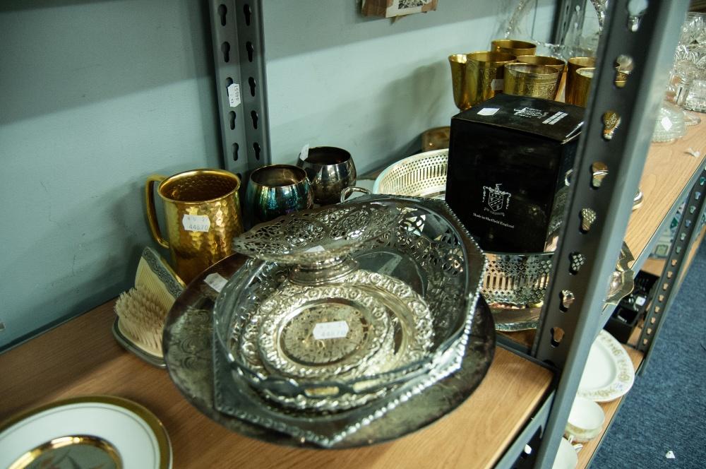 Lot 365 - ENGRAVED ELECTROPLATE CIRCULAR PEDESTAL CAKE DISH; AN ELECTROPLATE CIRCULAR TRAY WITH WAVY BORDER,