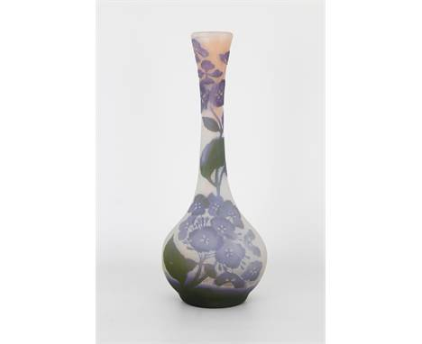 Galle, Signed Cameo Glass Vase. With floral motif throughout exterior, signed on backside. Height: 14.75 in.
