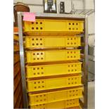 * St Steel single bakery shelving complete with trays (1800H x 520W x 770D) includes 15 bakery