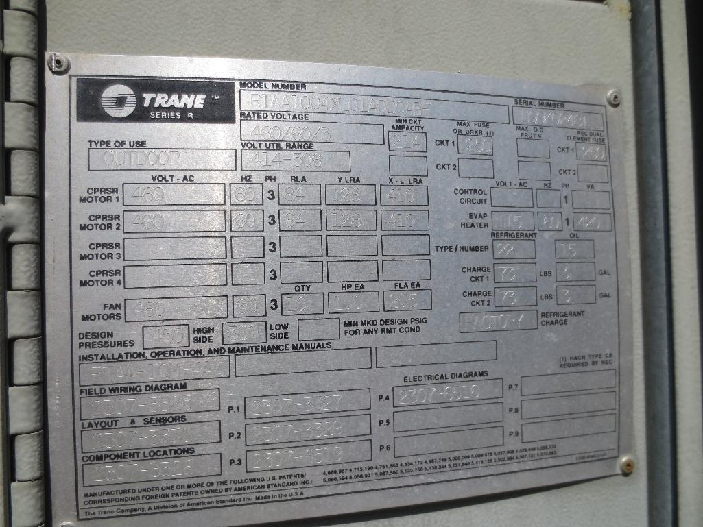 Trane Air Cooled Water Chiller, M/N RTAA1004XL01A0D0ABF S/N U99K02481 - Image 8 of 9